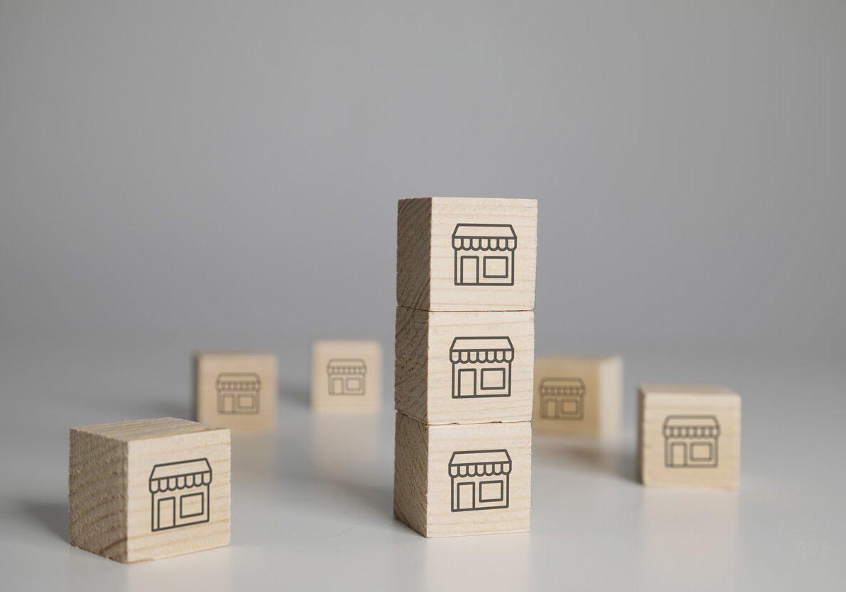 building blocks representing multiple franchise units